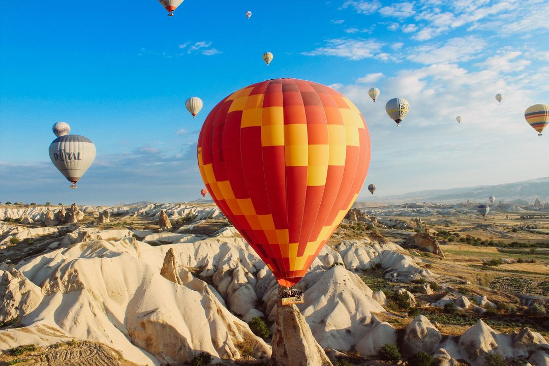 Hot Air Balloons Mountains Free Photo