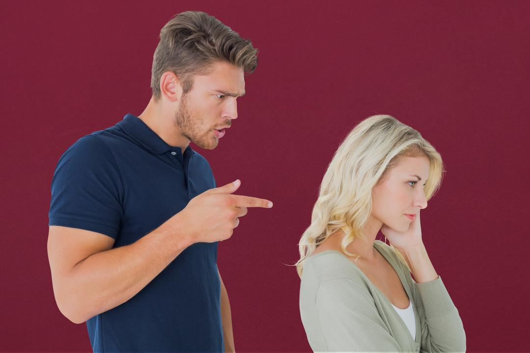Digital composite of Displeased couple against maroon background