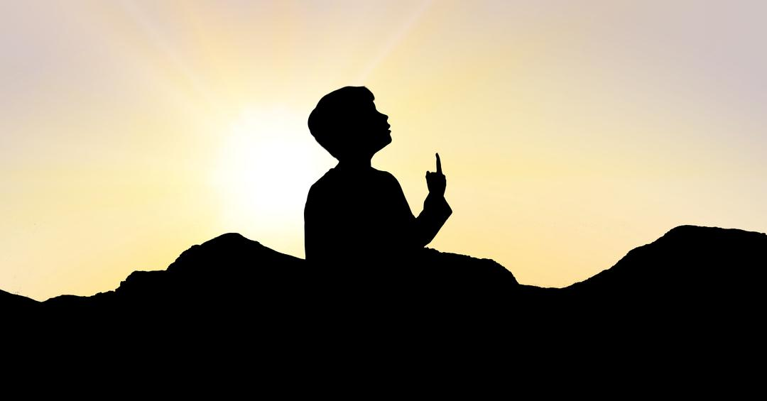 Digital composite of Silhouette boy pointing towards sky during sunset Free Stock Images from PikWizard