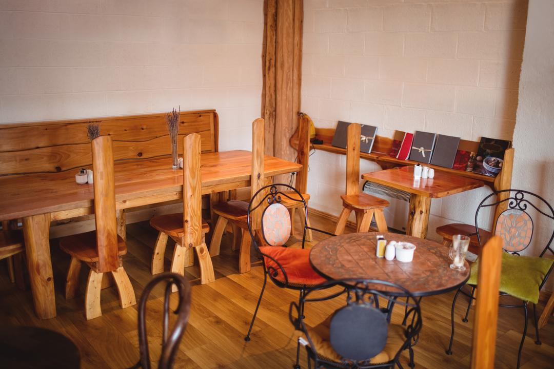 Tables and chairs set in café