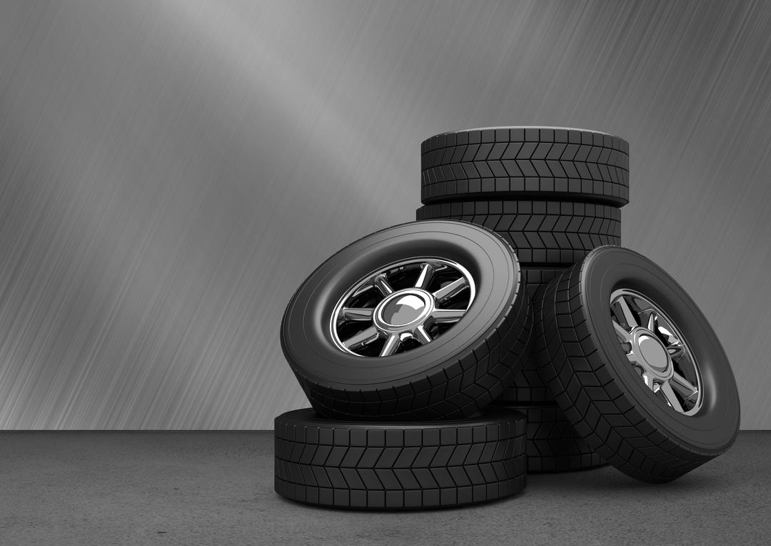 Stack of tyres kept on grey background