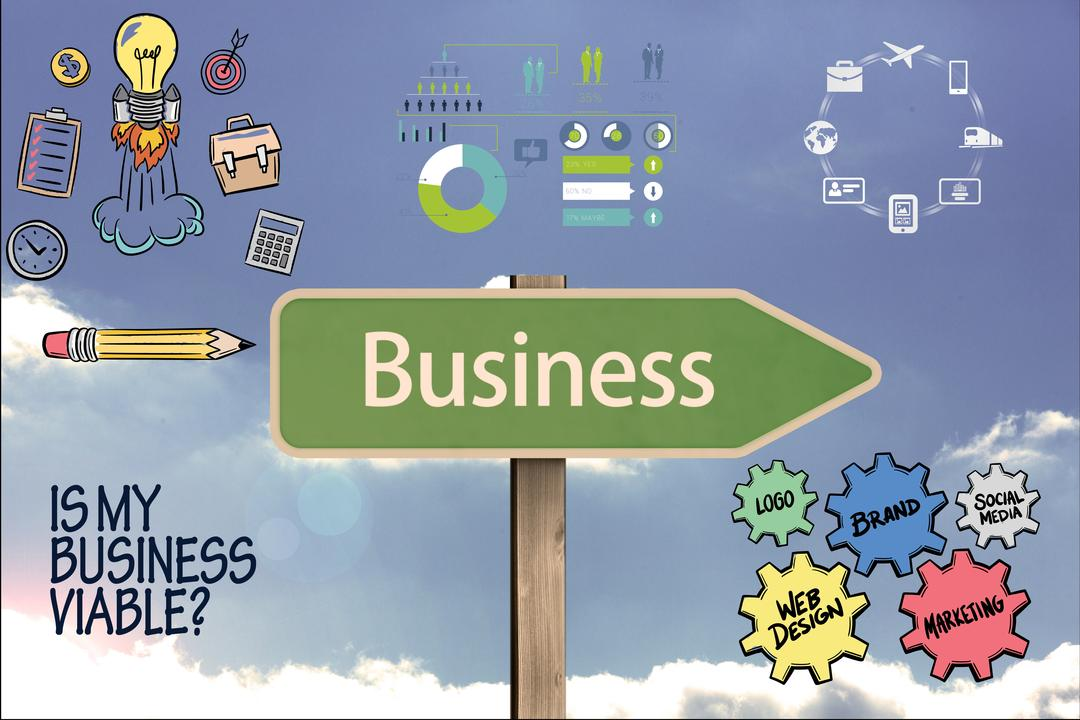 Digital composite of Business on signpost with graphics Free Stock Images from PikWizard