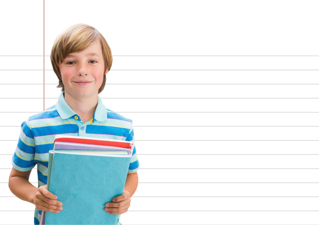 Digital composite of Boy student with books against notepad copybook Free Stock Images from PikWizard