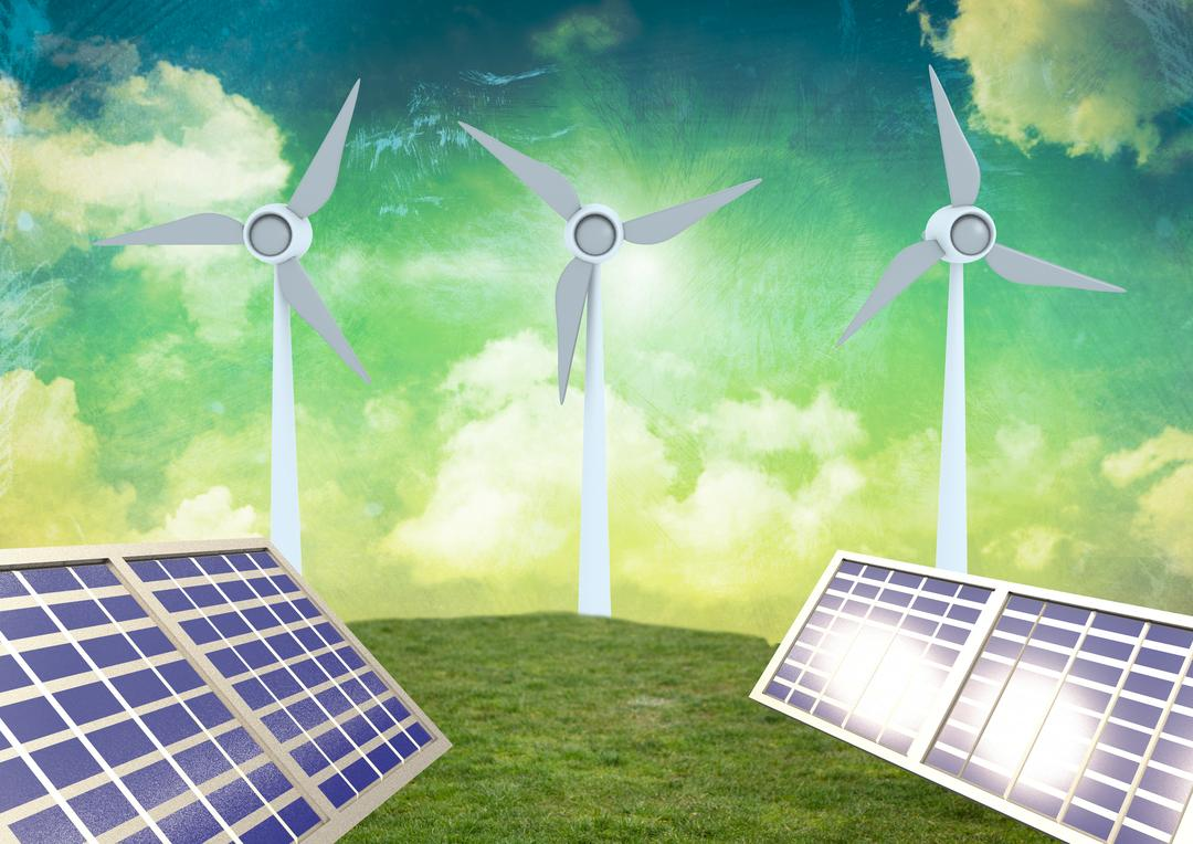 Digital composition of solar panels and wind turbine on green grass against sky background