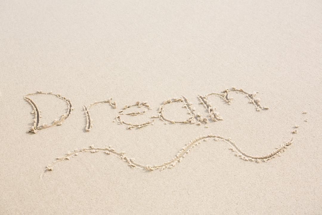 Motivational Image of the word 'Dream' written in sand on a beach