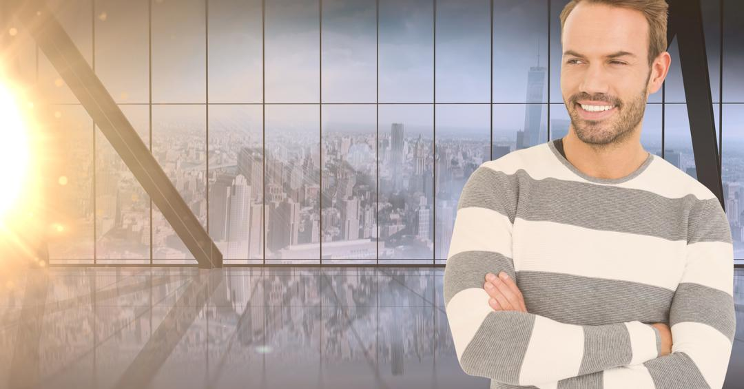 Digital composition of man standing with arms crossed against cityscape in the background Free Stock Images from PikWizard