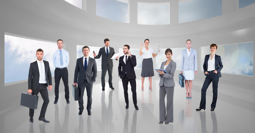 Digital composite image of well dressed business executives standing in office
