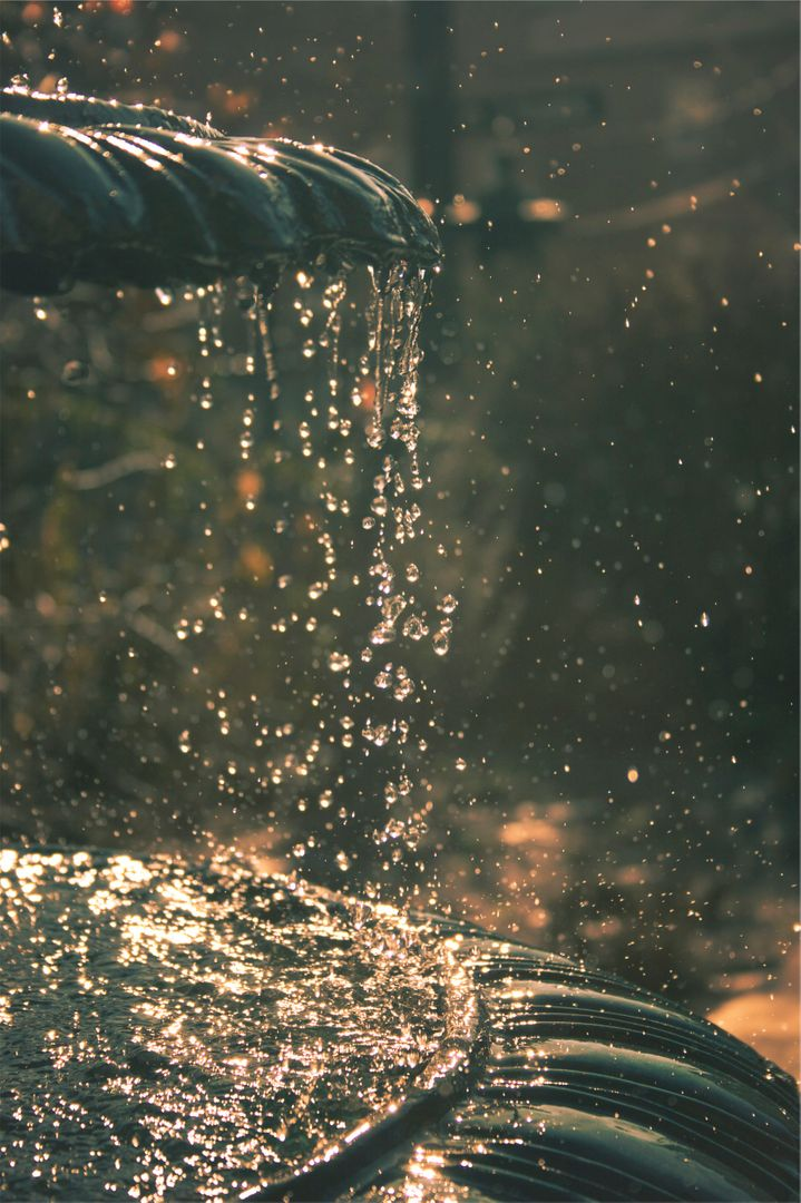 Fountain water drops
