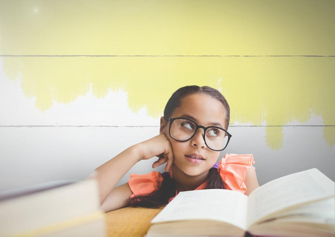 Digital composite of Young girl with glasses and books against painted background