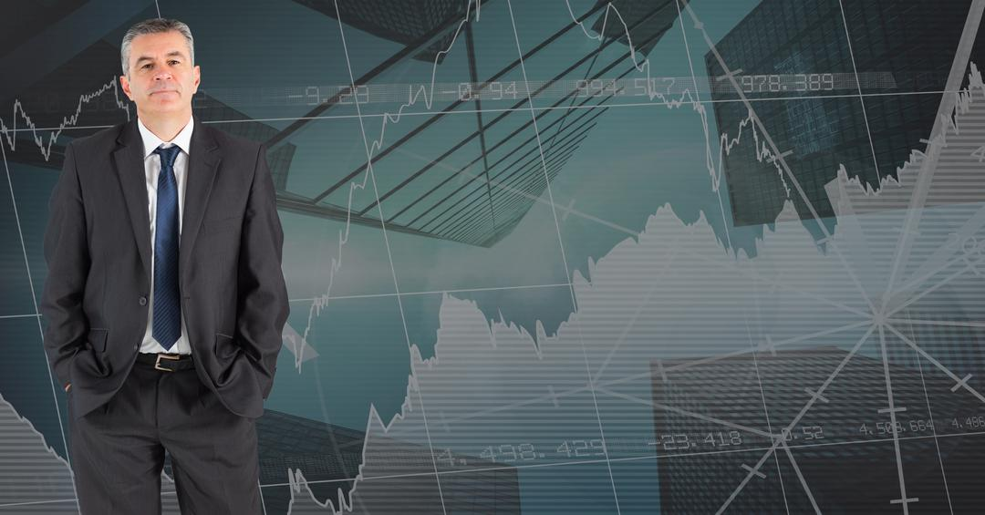 Digital composite of Confident businessman standing with hands in pockets against graphs on wall Free Stock Images from PikWizard