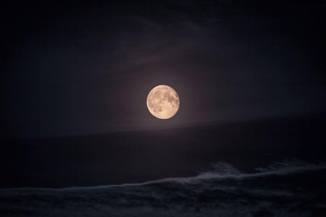 Full moon sky sea waves