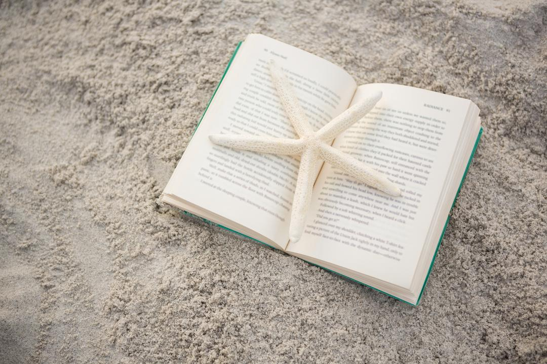 Starfish kept on open book at beach