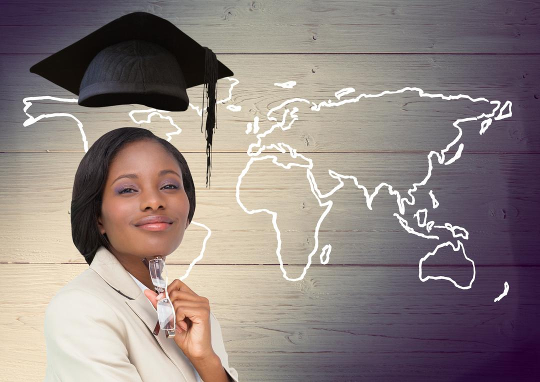Digital composition of woman with graduation cap and world map on wooden background