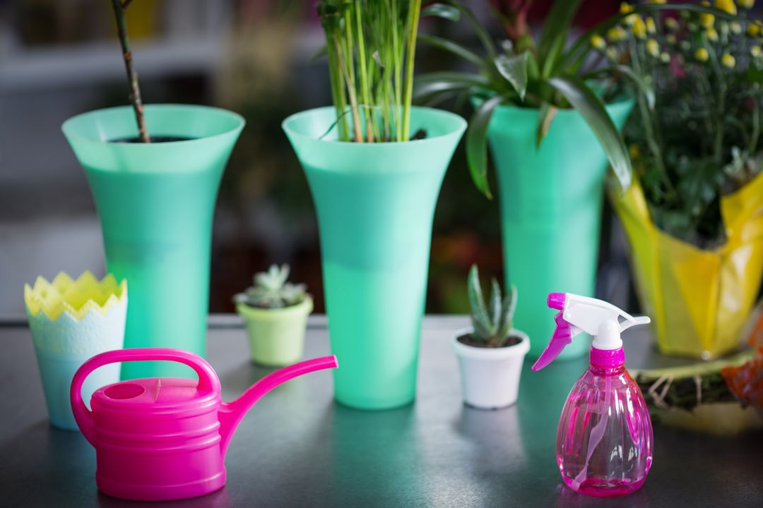 Close-up of flower vase, watering can, pot plant and spray bottle on table in the florist shop Free Stock Images from PikWizard