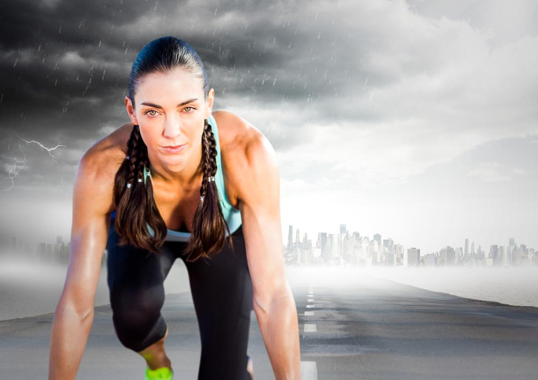 Digital composite of Female runner on road with skyline and storm
