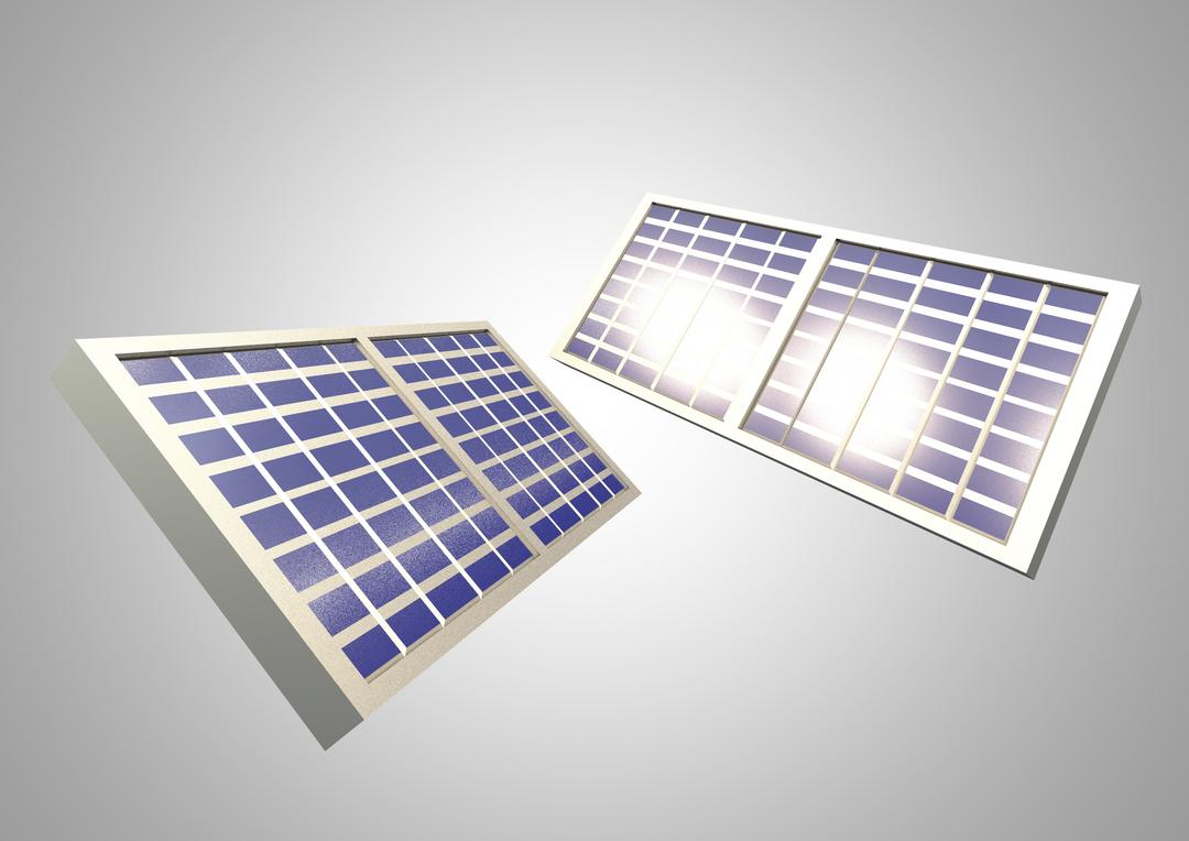 Digital composite image of solar panels against white background