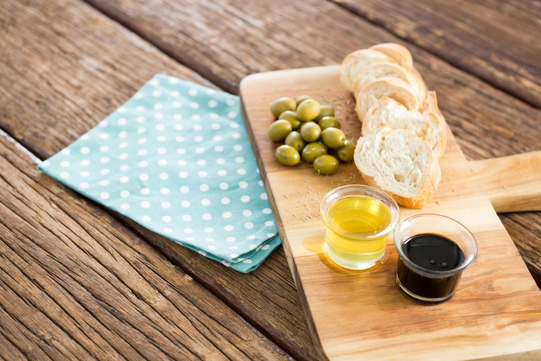 Image of Olive Oil on Bread on a Plate