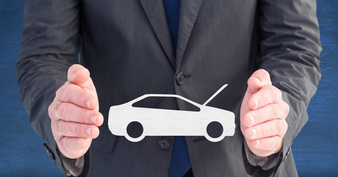Digital composite image of businessman pretending to hold vector car sign Free Stock Images from PikWizard