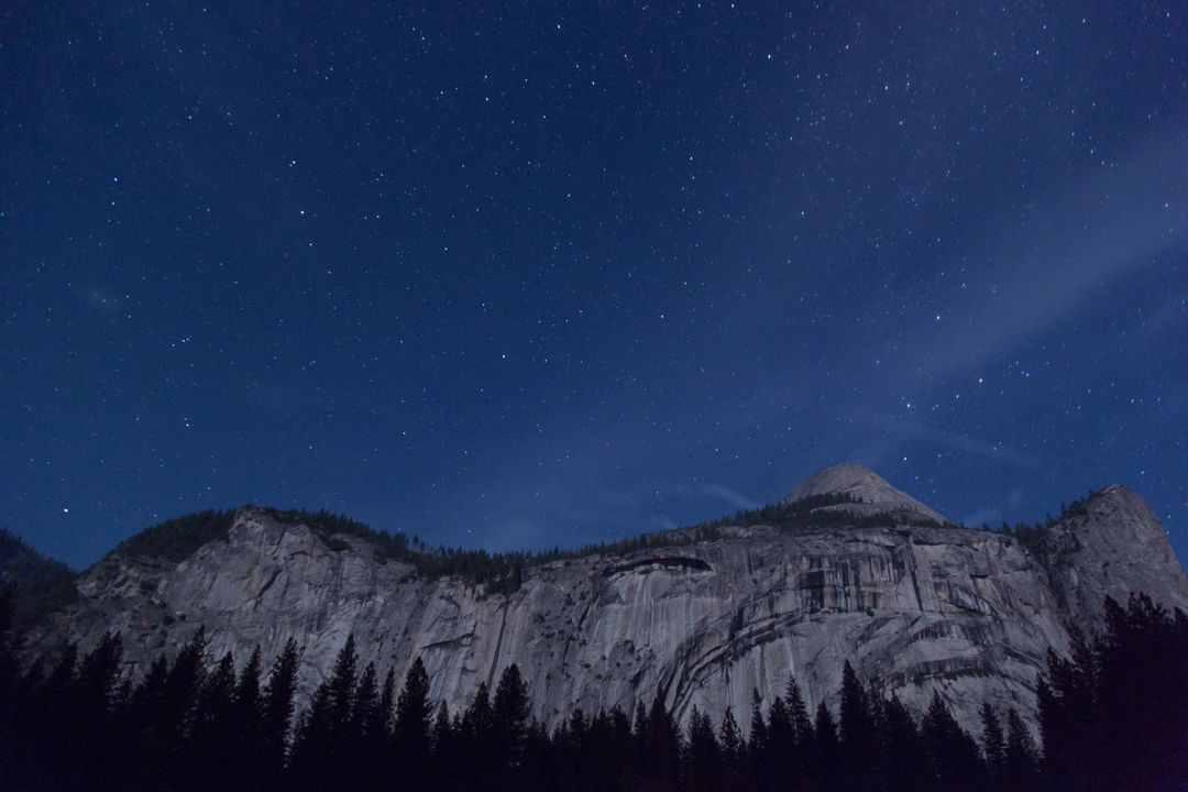 Image of a Landscape at Night and Starry Sky