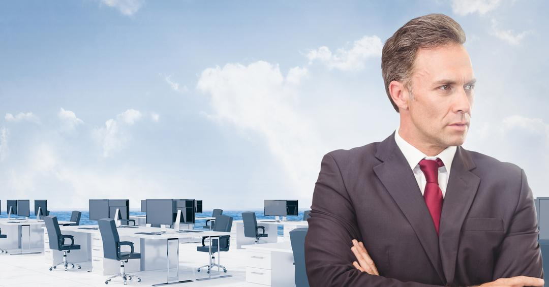 Digital composition of businessman with arms crossed against office background Free Stock Images from PikWizard