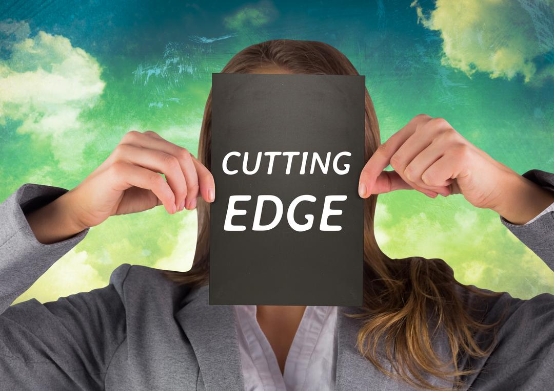Digital composition of businesswoman holding a card with cutting edge text