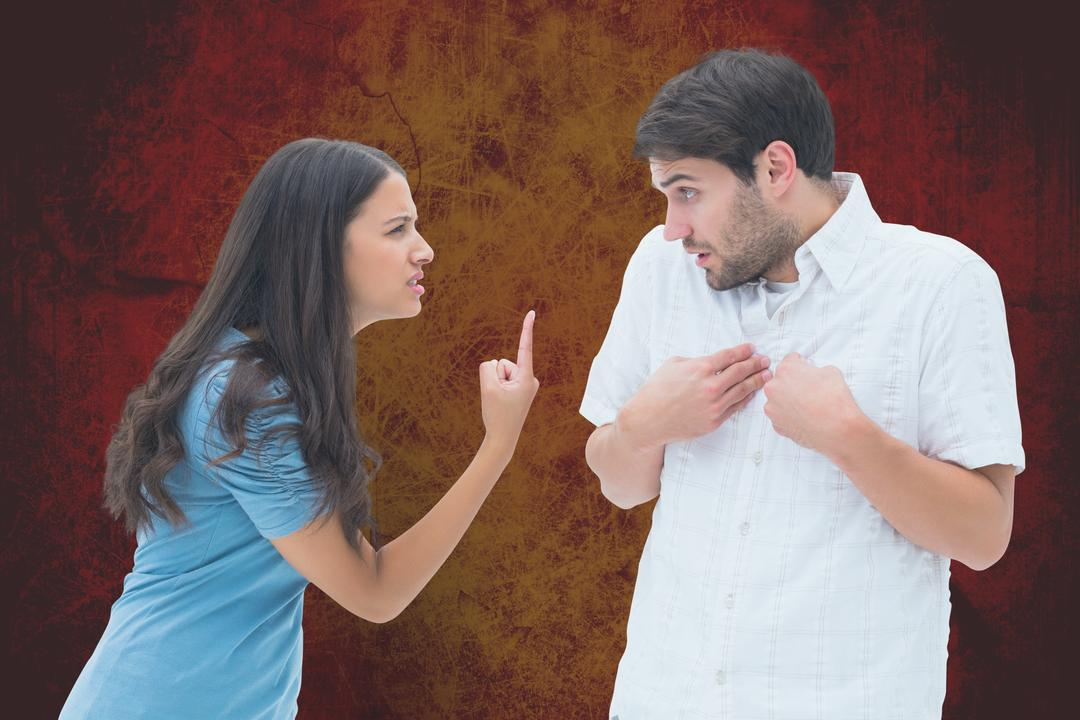 Digital composite of Angry couple arguing over orange background