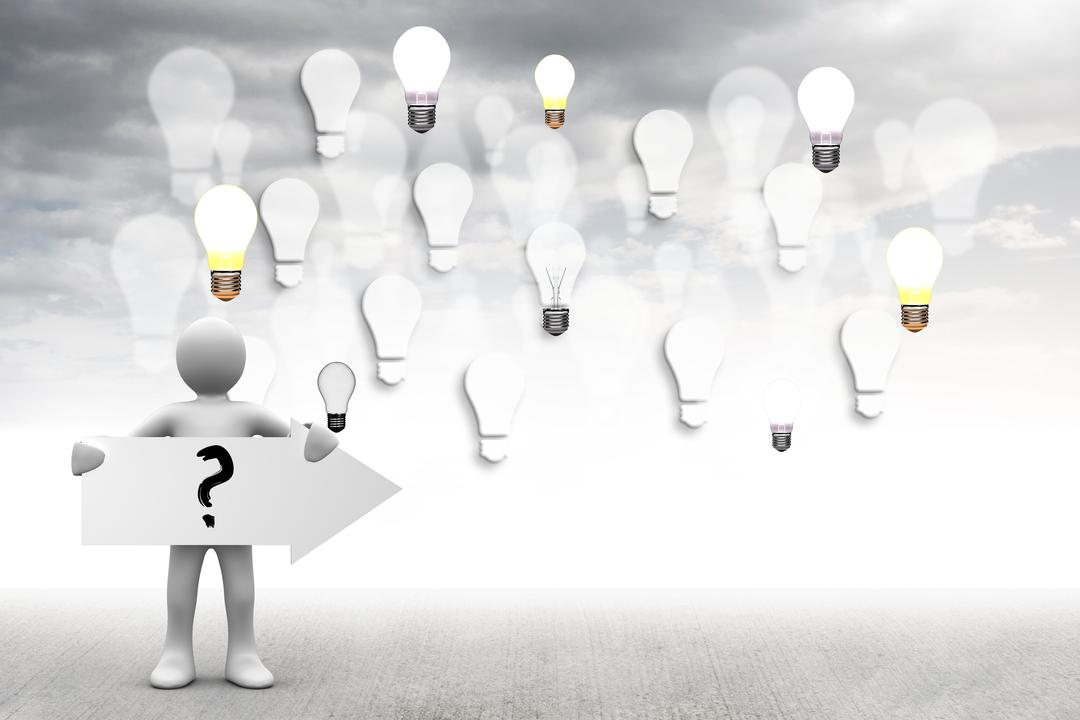 Composite of light bulb graphics with figure holding question mark sign Free Stock Images from PikWizard