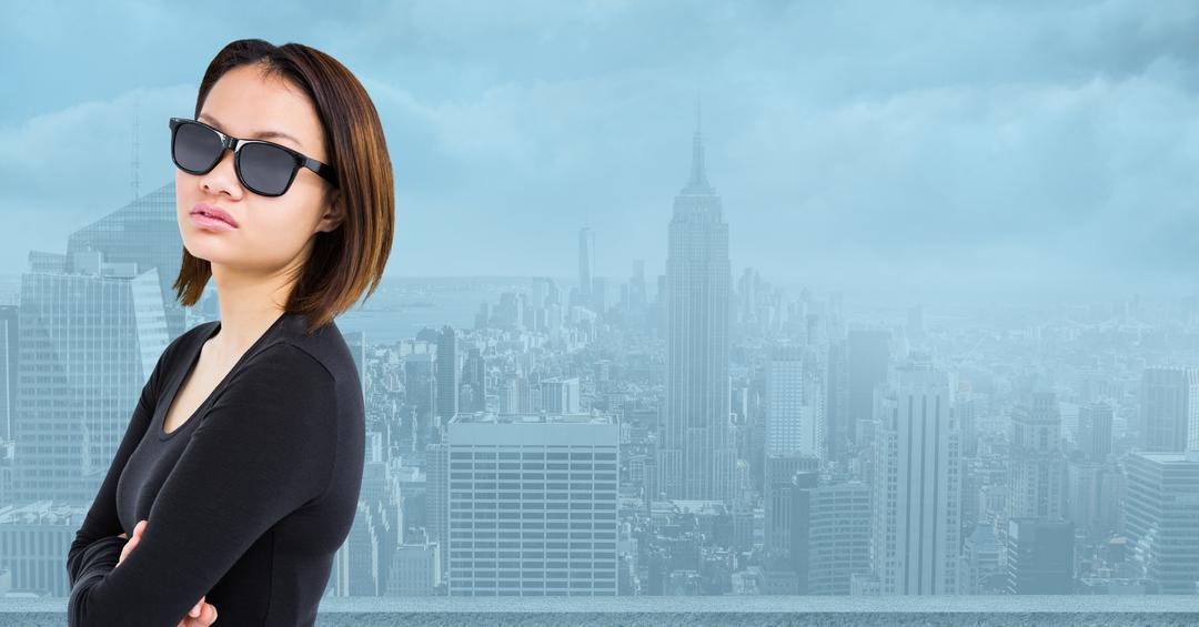 Digital composition of woman in sunglasses standing in office with cityscape in background Free Stock Images from PikWizard