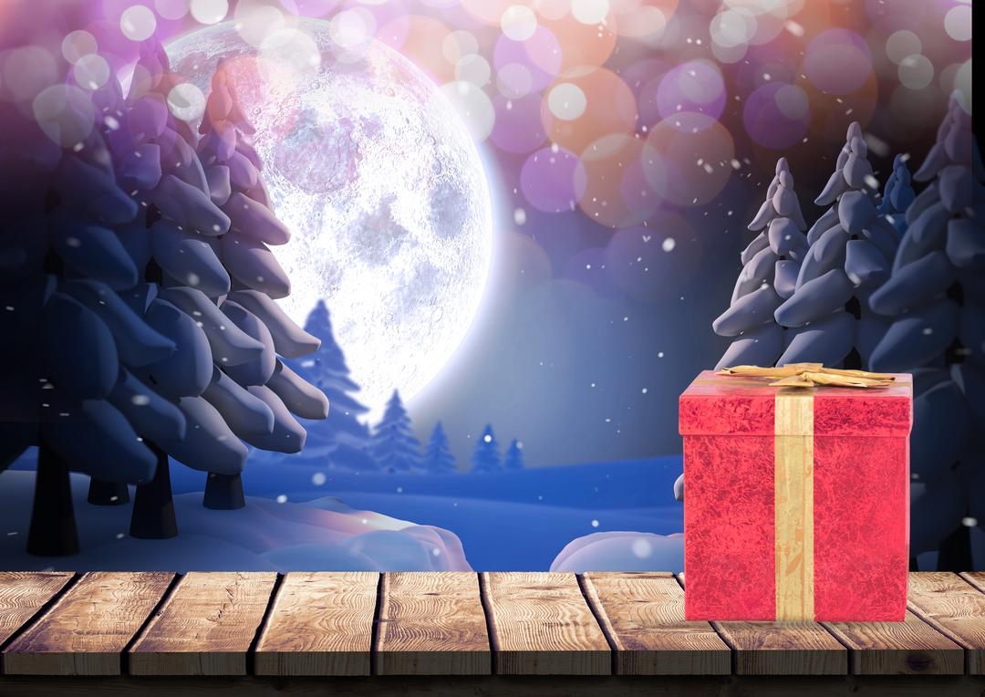 Digital composition of gift box on wooden plank against snowy background