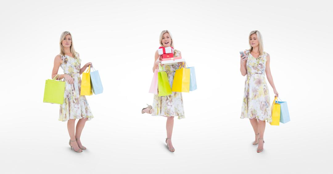 Digital composite of Multiple image of shopaholic woman against white background