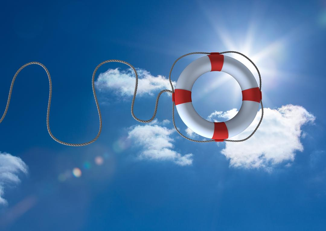 Digital composition of lifebuoy with rope against sky in background