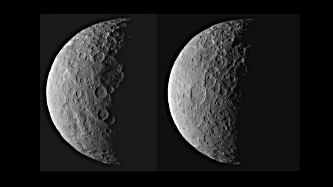 NASA's Dawn spacecraft took these images of dwarf planet Ceres from about 25,000 miles (40,000 kilometers) away on Feb. 25, 2015. Ceres appears half in shadow because of the current position of the spacecraft relative to the dwarf planet and the sun. The resolution is about 2.3 miles (3.7 kilometers) per pixel.   http://photojournal.jpl.nasa.gov/catalog/PIA19310