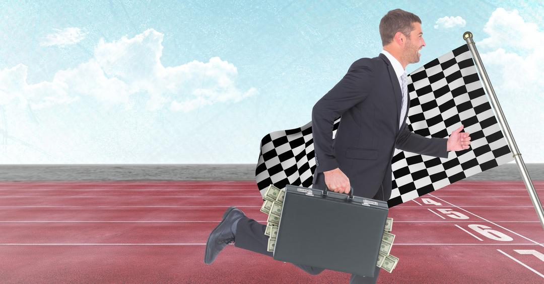 Digital composite of Business man with money sticking out of briefcase on track against sky and checkered flag Free Stock Images from PikWizard