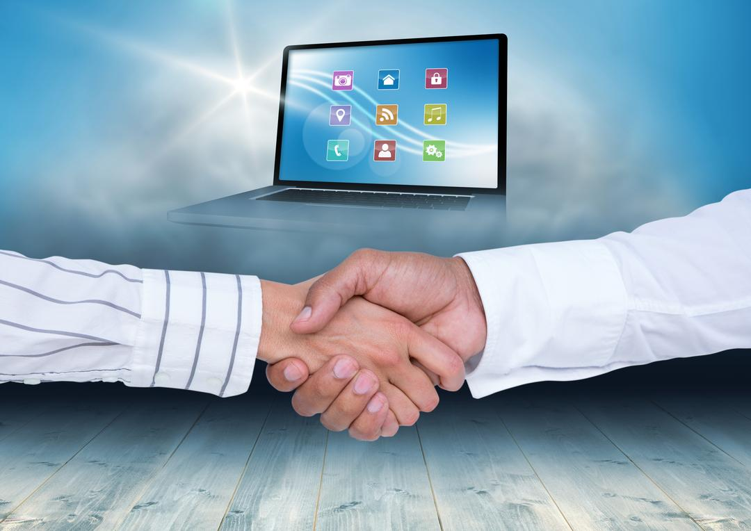 Digital composition of businesspeople shaking hands with various icon over laptop screen in background