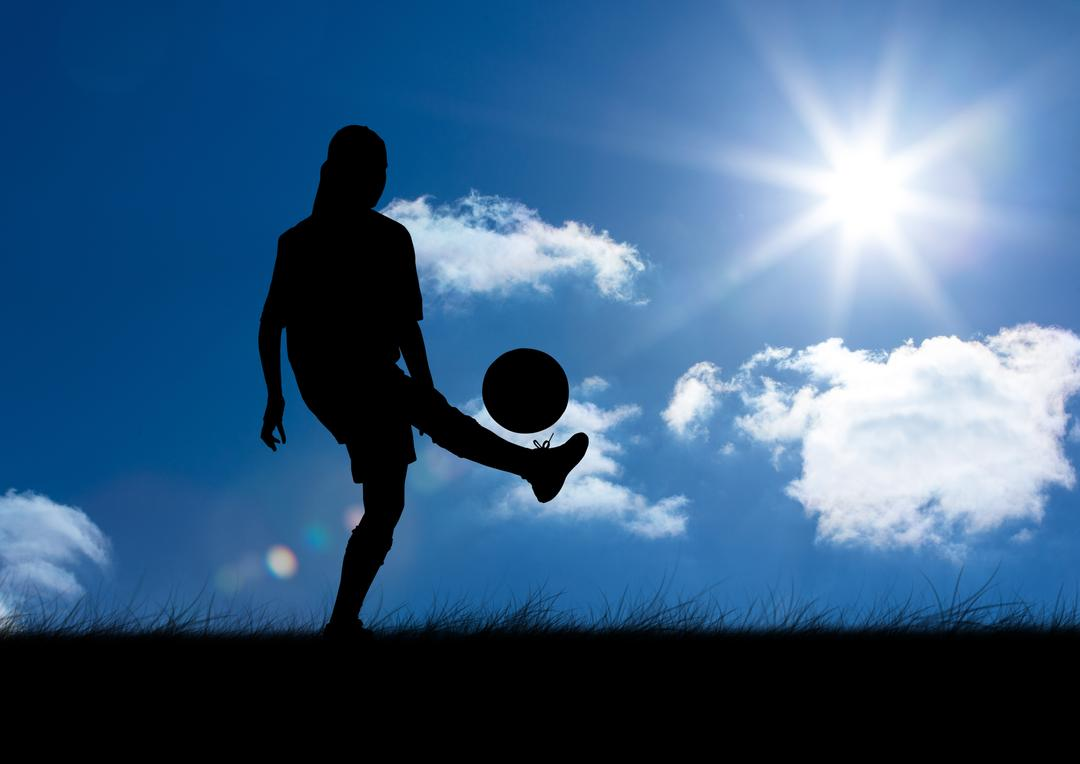 Digital composition of silhouette of woman playing with ball against sky background Free Stock Images from PikWizard