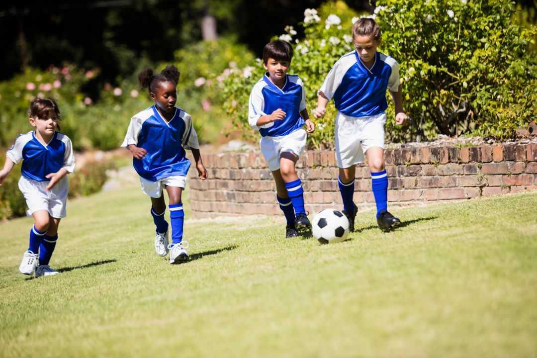 Children wearing soccer uniform playing a match in a park Free Stock Images from PikWizard