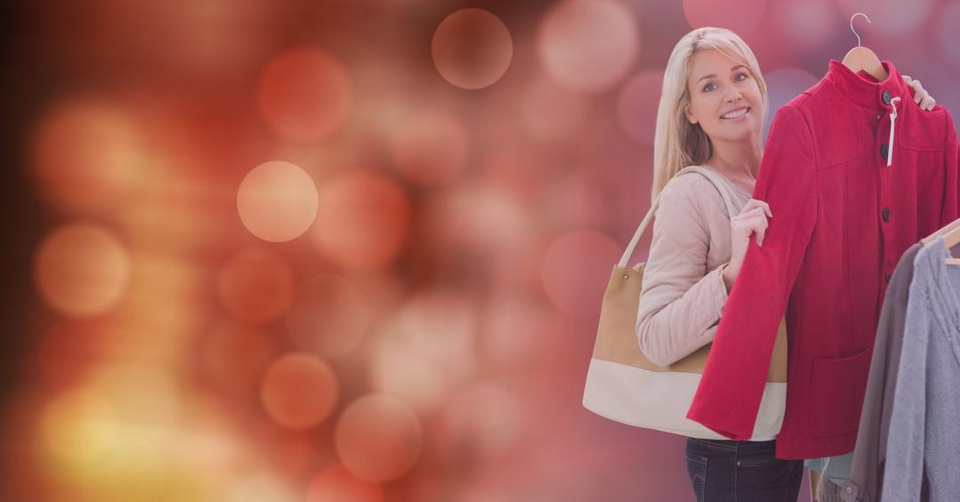 Digital composite of Portrait of woman buying new jacket over blur background