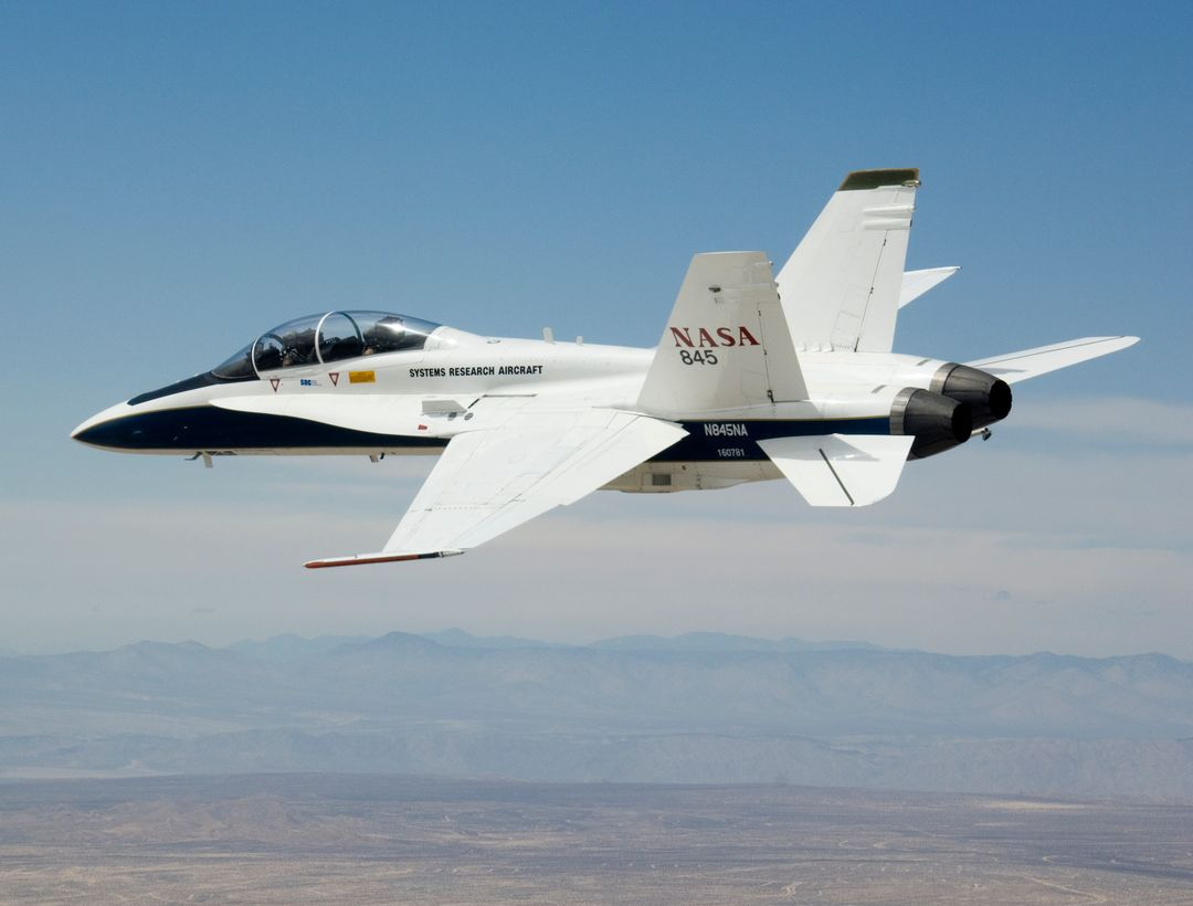 NASA's F/A-18B #845 was captured by the photographer as it returned from its final flight in the Autonomous Airborne Refueling Demonstration research project.