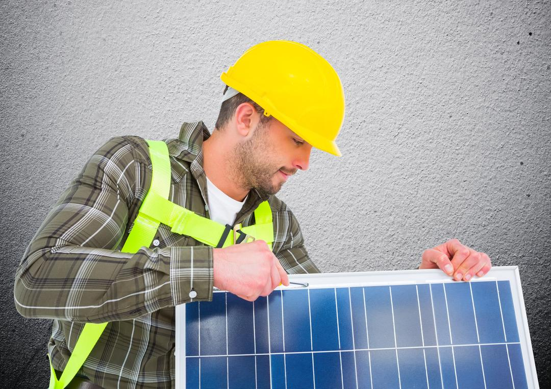 Digital composite image of man fixing solar panel