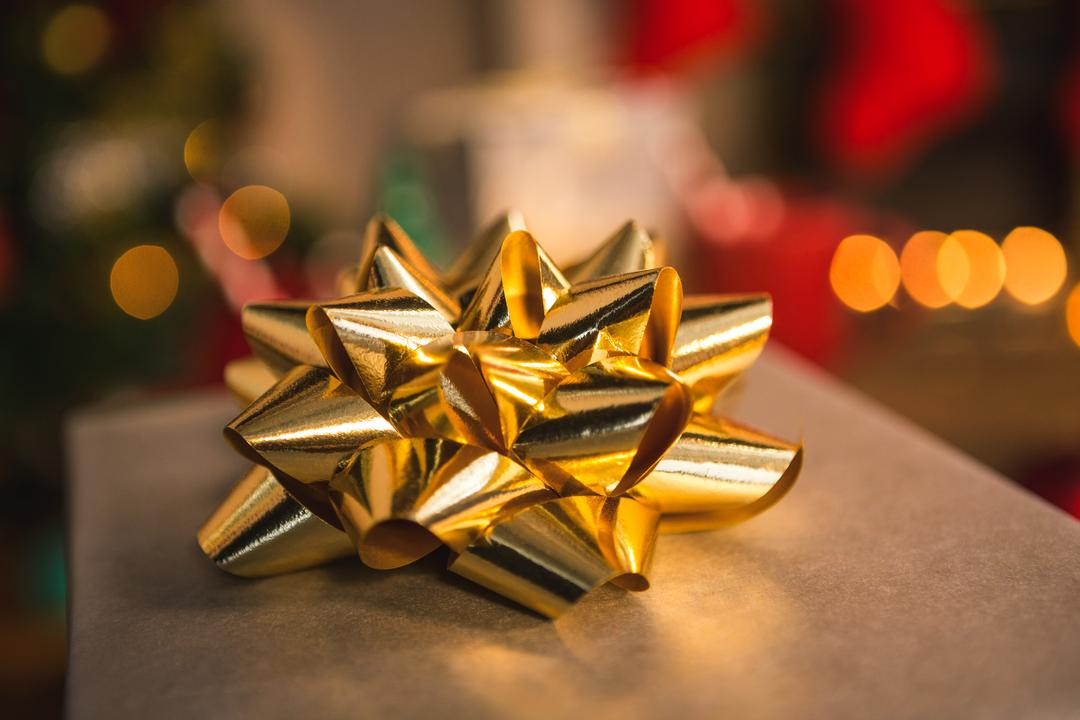 Close-up of gold christmas decoration