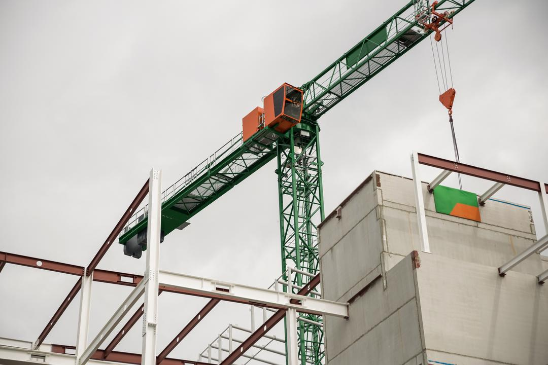 View of crane at construction site