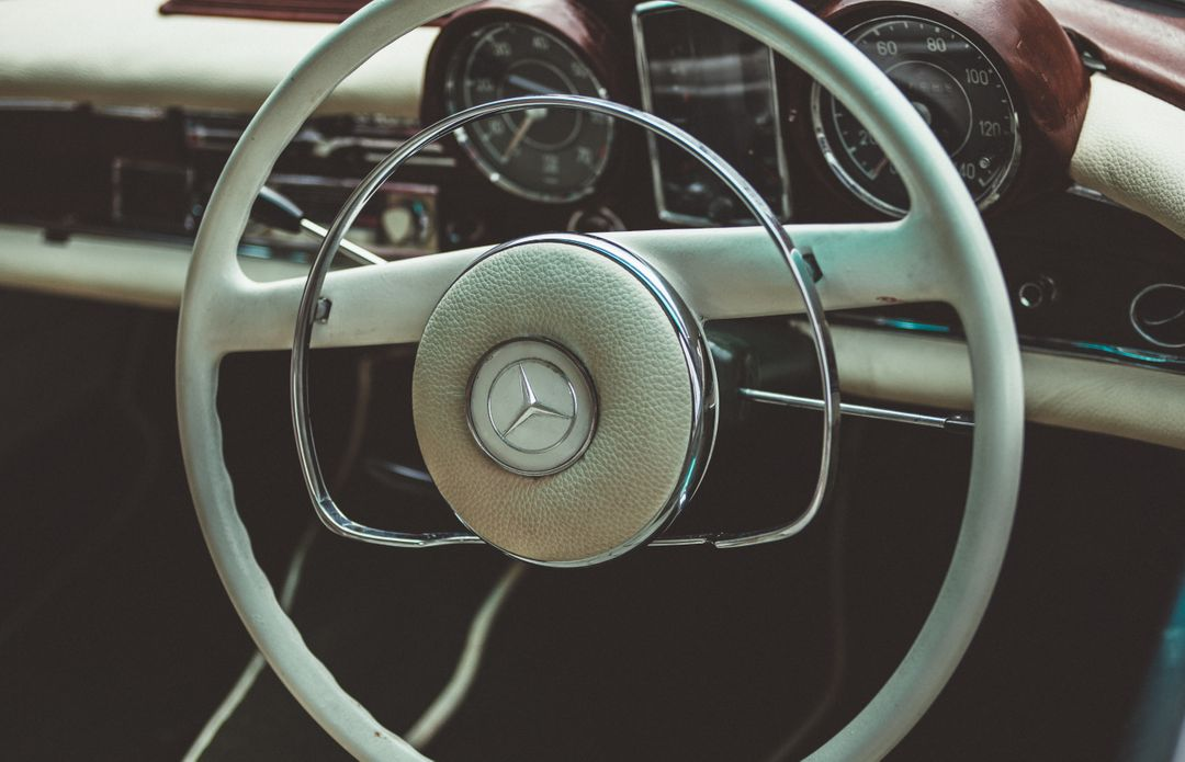 Vintage White Mercedes Steering Wheel