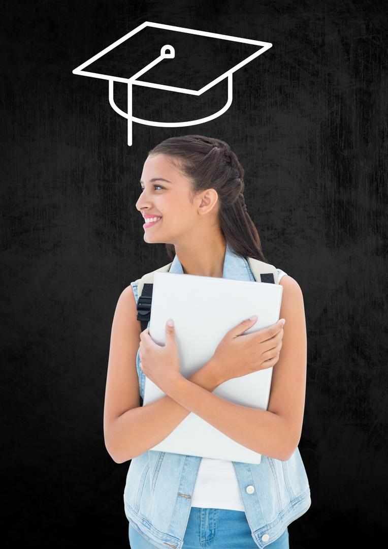 Teenage girl with backpack and mortarboard above head against black background