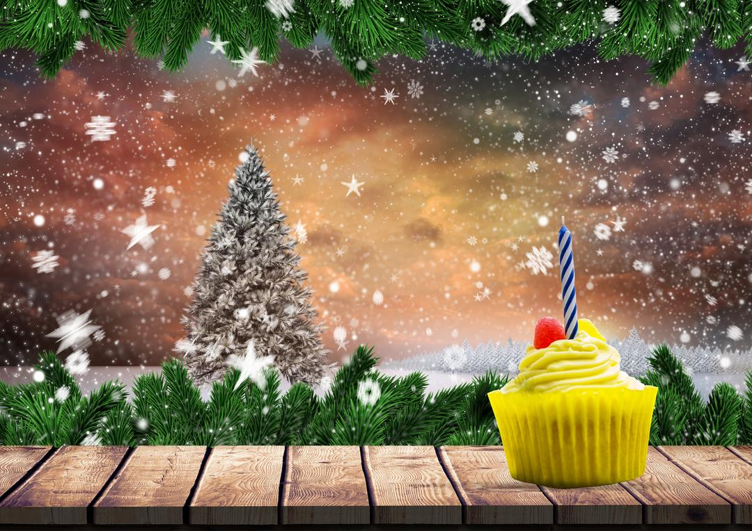 Digital composition of cupcake on wooden plank against Christmas background