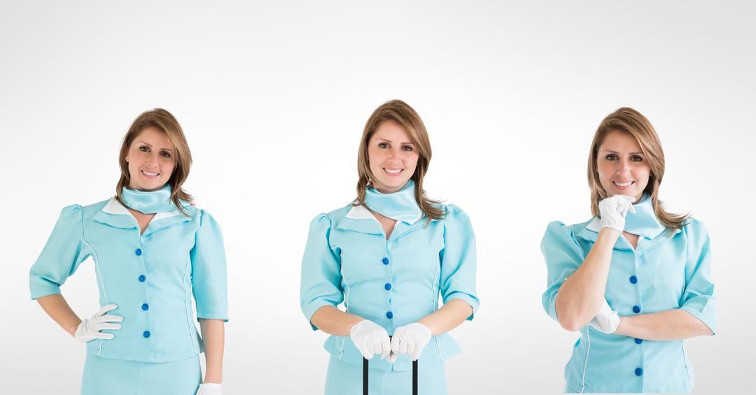 Digital composite of Multiple image of smiling female doctor against white background