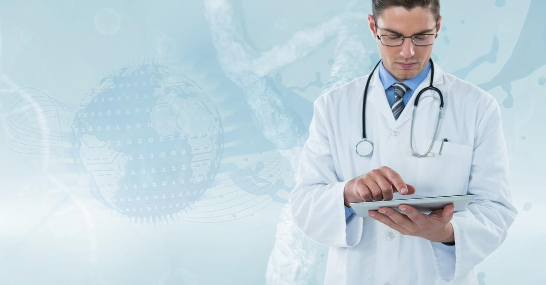 Digital composite of Doctor (men) with technological background working with his tablet