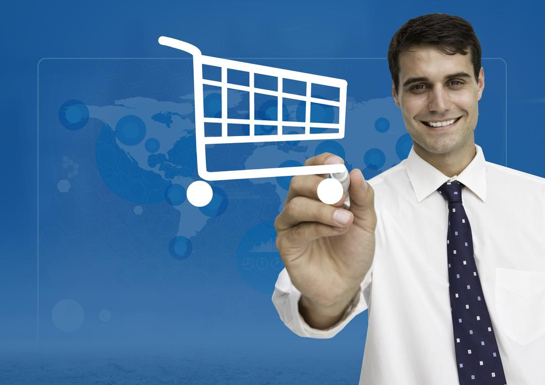 Digital composition of happy businessman drawing shopping cart on digital screen Free Stock Images from PikWizard