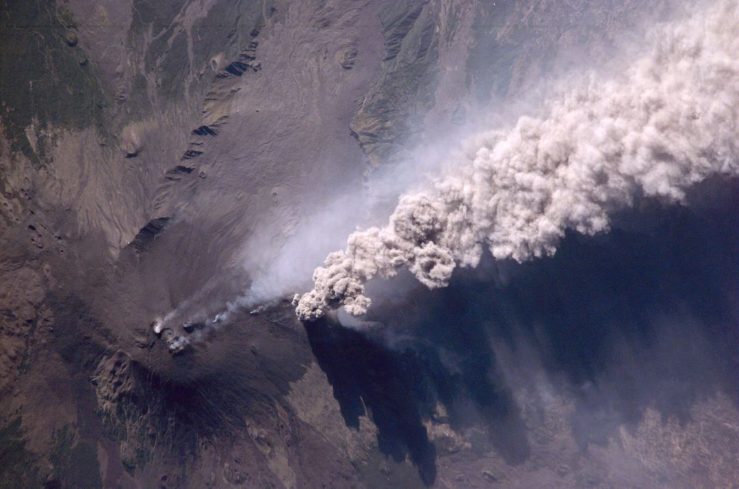 An Expedition Two crewmember aboard the International Space Station (ISS) captured this overhead look at the smoke and ash regurgitated from the erupting volcano Mt. Etna on the island of Sicily, Italy. At an elevation of 10,990 feet (3,350 m), the summit of the Mt. Etna volcano, one of the most active and most studied volcanoes in the world, has been active for a half-million years and has erupted hundreds of times in recorded history.
