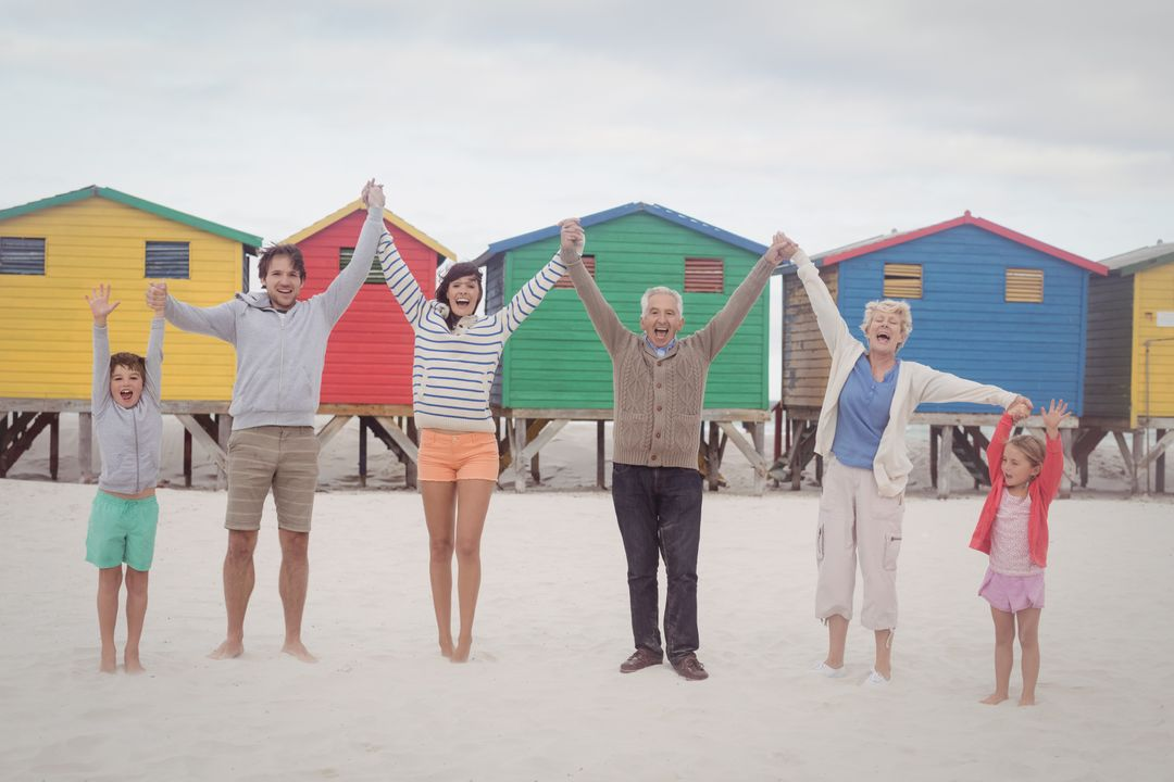 Portrait of cheerful multi-generation family holding hands while standing at beach Free Stock Images from PikWizard