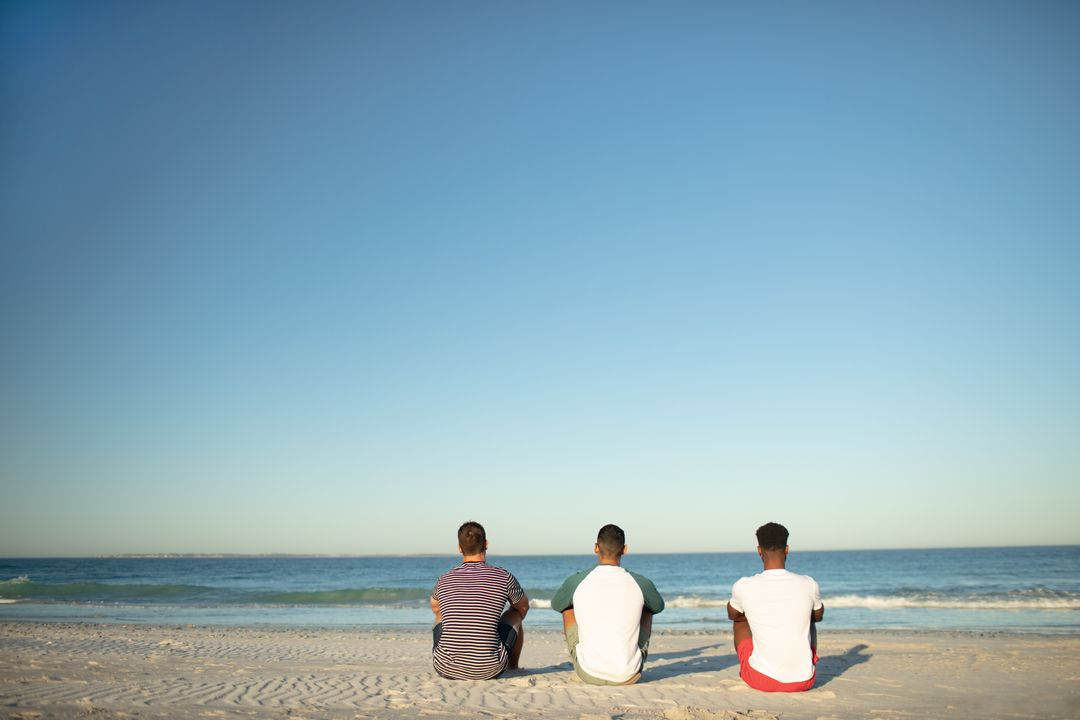 Rear view of male friends relaxing together on the beach